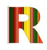 R-Buchstabe in den bunten Linien auf weißem Hintergrund Lizenzfreies Stockfoto
