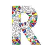 R-Buchstabe im Aquarell deckte Mosaik im geometrischen Stil mit Ziegeln Stockfotos