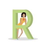 R-Buchstabe-und -mädchen-Spiele auf Smartphone ABC vector Stockbild