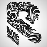 R calligraphic element Royalty Free Stock Image