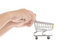 ręce wózka na zakupy pojedynczy white Obraz Royalty Free