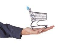 ręce wózka na zakupy pojedynczy white Zdjęcia Stock
