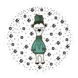 R?cka den utdragna roliga gulliga isbj?rnen i skandinavet, nordisk stil Barnsligt tryck för ungar dräkt, affisch, vykort, klister royaltyfri illustrationer
