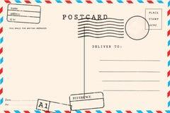 R?ckseite der leeren Postkarte lizenzfreies stockfoto