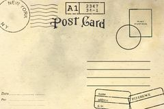 R?ckseite der leeren Postkarte stockfotografie