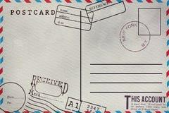 R?ckseite der leeren Postkarte lizenzfreie stockbilder
