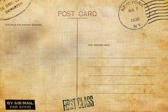 R?ckseite der leeren Postkarte mit schmutzigem Fleck stockbild
