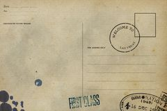 R?ckseite der leeren Postkarte stockfotos