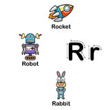 R-cohete de la letra del alfabeto, robot, ejemplo del conejo Foto de archivo
