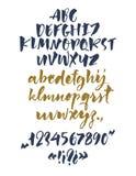 Ręcznie pisany pismo chrzcielnica Szczotkarska chrzcielnica Uppercase, lowercase, liczby, interpunkcja Obrazy Stock