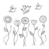 Ręcznie robiony kwiaty i ptaki Obrazy Royalty Free