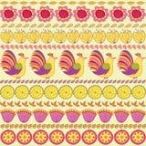 Ręcznie robiony set ptaki, ziele i kwiaty, Obrazy Stock