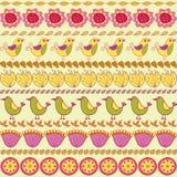 Ręcznie robiony set ptaki, ziele i kwiaty, Obraz Royalty Free