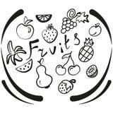 Ręcznie robiony ustalone owoc ikony royalty ilustracja