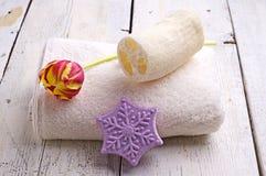 Ręcznik i tulipan Obraz Royalty Free