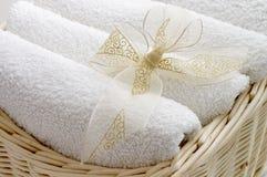 Ręczniki w koszu Obraz Royalty Free
