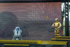 R2D2, C3PO, Disney World, Star Wars, Travel. R2D2 and C3PO during a Star Wars show in Hollywood Studios in Walt Disney World outside of Orlando, FL. Florida is a royalty free stock photography