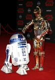 R2-D2 and C-3PO. At the World premiere of `Star Wars: The Last Jedi` held at the Shrine Auditorium in Los Angeles, USA on December 9, 2017 Royalty Free Stock Image