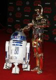 R2-D2 and C-3PO. At the World premiere of `Star Wars: The Last Jedi` held at the Shrine Auditorium in Los Angeles, USA on December 9, 2017 Royalty Free Stock Photos