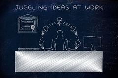 R&D employee juggling lightbulbs at the office, juggling ideas a Royalty Free Stock Images