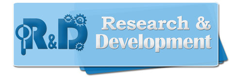 R And D - Research And Development Blue Side Squares Stock Images