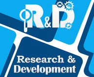 R And D - Research And Development Blue Squares. Research and development concept image with creative elements and text Stock Photo