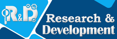R And D - Research And Development Two Blue Squares Stock Photo