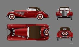 R?d retro bil p? gr? bakgrund Tappningcabriolet i realistisk stil Framdel-, sido-, ?verkant- och baksidasikt vektor illustrationer