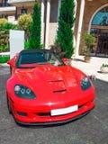 R?da Chevrolet Corvette arkivbild