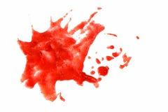 R?da fl?ckar p? vit isolerad bakgrund Ge f?rsta erfarenhet sm? droppar eller plaskar, m?larf?rg, fruktsaft, ketchupattraktion arkivfoto