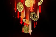 R?da pilar som ner pekar som Bitcoin BTC prisnedg?ngar Cryptocurrency priser g?r ned, det h?ga - risken - h?ga f?rlustbegreppet f royaltyfri illustrationer
