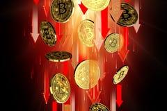 R?da pilar som ner pekar som Bitcoin BTC prisnedg?ngar Cryptocurrency priser g?r ned, det h?ga - risken - h?ga f?rlustbegreppet f stock illustrationer