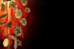 R?da pilar som ner pekar som Bitcoin BTC prisnedg?ngar Isolerat p? svart bakgrund, kopieringsutrymme Cryptocurrency prisnedg?ng royaltyfri illustrationer