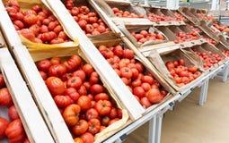 R?da tomater i tr?askar close upp arkivfoton