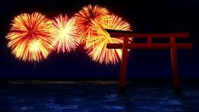 R?da Torii portar i Japan F?rgrika fyrverkerier t?nder upp himlen Sikten av fyrverkerifestivalen stock video