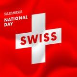 1r del día nacional de August Swiss Imagen de archivo libre de regalías