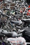 R�der. A few bikes parking in the city Stock Image