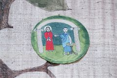?r des gares de la croix, Jésus est condamnées à la mort Images libres de droits