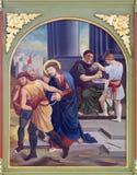 ?r des gares de la croix, Jésus est condamnées à la mort Image libre de droits