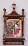 ?r des gares de la croix, Jésus est condamnées à la mort Images stock