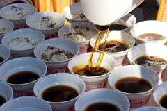 Rüdesheim coffee being poured into cups and prepared Stock Image