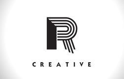 R di progettazione di Logo Letter With Black Lines Linea vettore Illust della lettera Fotografia Stock Libera da Diritti