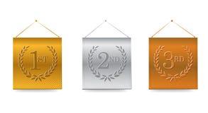 1r; 2do; 3ro ejemplo de las banderas de los premios stock de ilustración