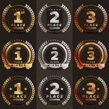 1r, 2do, 3ro ` s del logotipo del lugar con los laureles y cintas Fotos de archivo