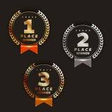1r, 2do, 3ro ` s del logotipo del lugar con los laureles y cintas Imagen de archivo