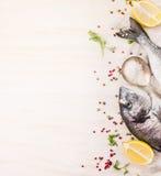 Rå doradofisk med flerfärgad peppar, citron en sked av salt på vit träbakgrund, bästa sikt Royaltyfri Bild