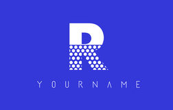 R Dotted Letter Logo Design with Blue Background. Stock Images