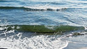 ?r?dziemnomorska pla?a macha na pla?y przy eavning czasem, ?wiat?o s?oneczne odbija na wody powierzchni Fuengirola, Hiszpania zbiory wideo
