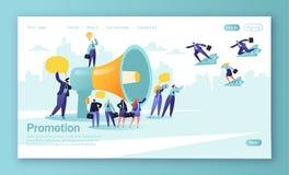 r El promotor habla en megáfono grande y atrae a los compradores o ilustración del vector