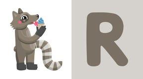 R est pour le raton laveur Lettre R raccoon , illustration mignonne blanc animal de vecteur de fonds d'image d'alphabet Illustration de Vecteur
